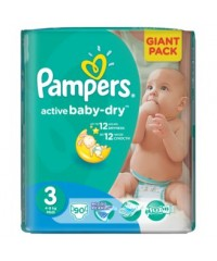 Pampers Active Baby-Dry подгузники №3 4-9 кг, 90 шт.
